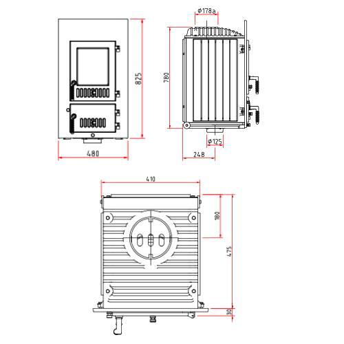 Kachelofeneinsatz Schmid SD 9 E, 9 kW
