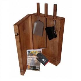 Kaminbesteck Lienbacher Set Heiße Kiste inkl. Holzkiste 6-teilig, Nuss gebeizt
