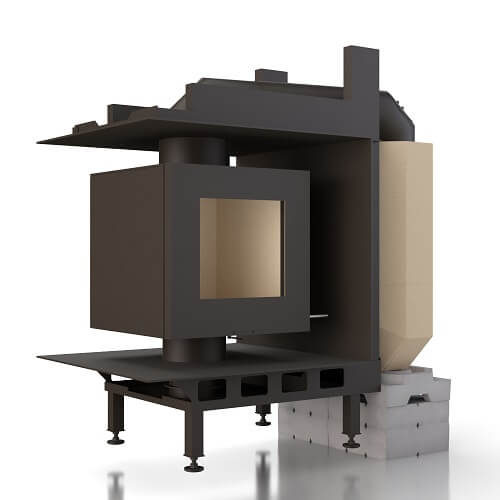 Kachelofeneinsatz Brunner DF 33 Doppelglasscheibe mit MSS, 6 kW