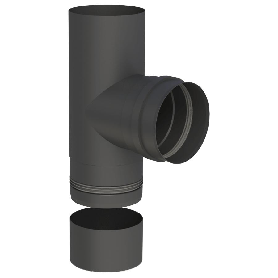 Pelletofenrohr - T-Anschluss 90° mit abnehmbarer Kondensatschale - schwarz lackiert - Jeremias Pelle