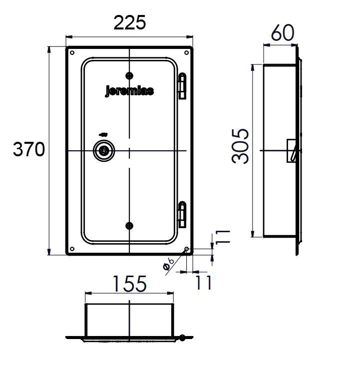 Kamintür - Edelstahlkamintür 300 x 150 mm mit Schiebestutzen 60 mm - einwandig - Jeremias EW-FU