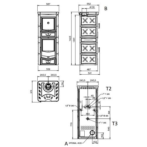 Kaminofen La Nordica TermoNICOLETTA FORNO D.S.A. 4.0 11,1kW wasserführend mit Backfach