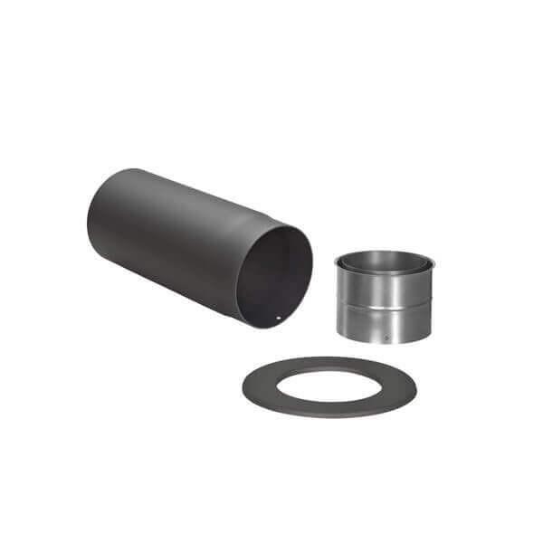 Ofenrohr - Winkelrohr SET schwarz für Anschluss hinten
