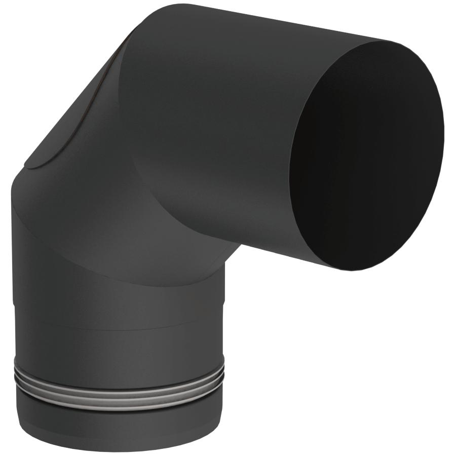 Pelletofenrohr - Winkel 90° starr mit Revision schwarz - Jeremias Pellet-Line