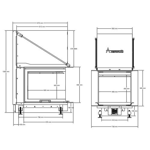 Kamineinsatz A Caminetti Crystal 3D 50x60 14 kW