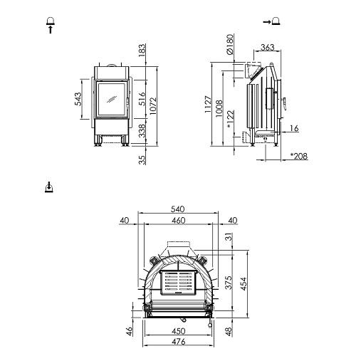 Kamineinsatz SPARTHERM Mini R1V 5,2kW Drehtür raumluftunabhängig