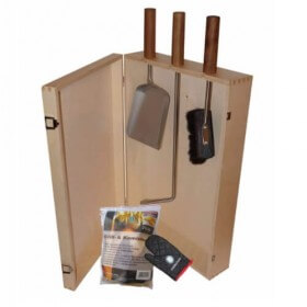 Kaminbesteck Lienbacher Set Heiße Kiste inkl. Holzkiste 6-teilig, Natur lackiert