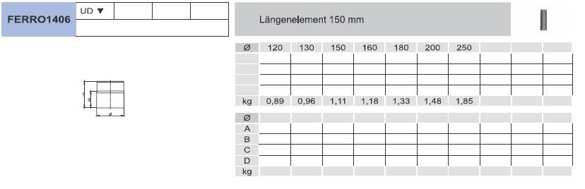 Ofenrohr - Längenelement 150 mm - schwarz