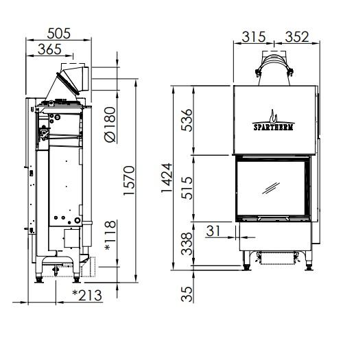 Kamineinsatz SPARTHERM Varia 2L-55h H2O 7kW wasserführend