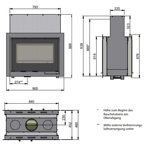 Kamineinsatz Scan DSA 12 9kW