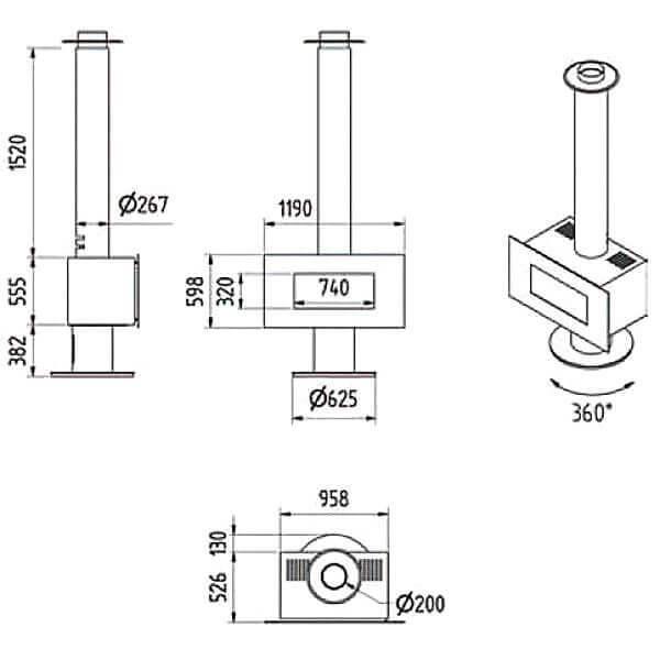 Kaminofen M-design Venus 850HT 9kW drehbar