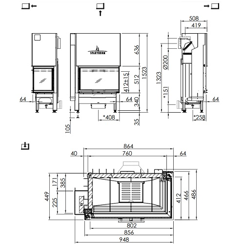 Kamineinsatz SPARTHERM Varia 2R-80h 10,4kW Eckkamin Schiebetür