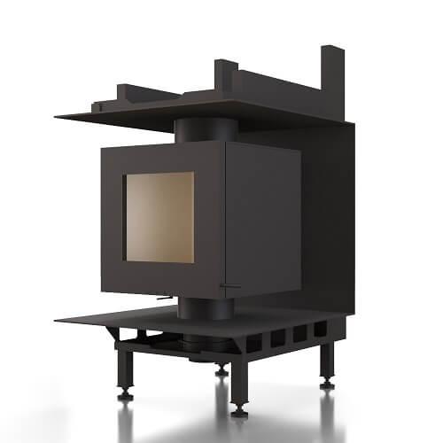 Kachelofeneinsatz Brunner DF 33 Doppelglasscheibe für bauseitige Anbindung einer Nachheizfläche, 6 kW