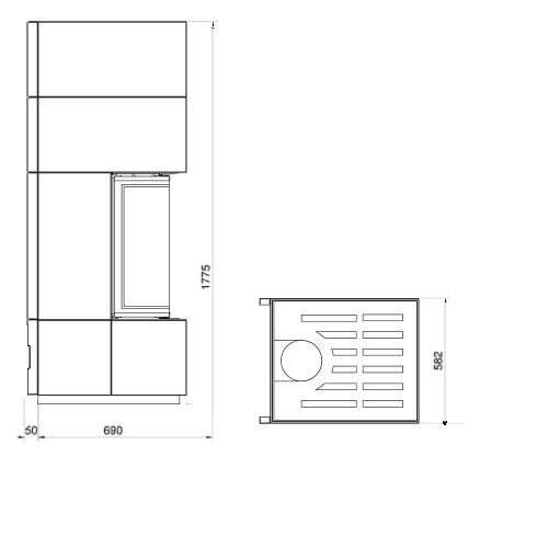 Kaminbausatz Cera Design Linea KL1000 Beton 6kW