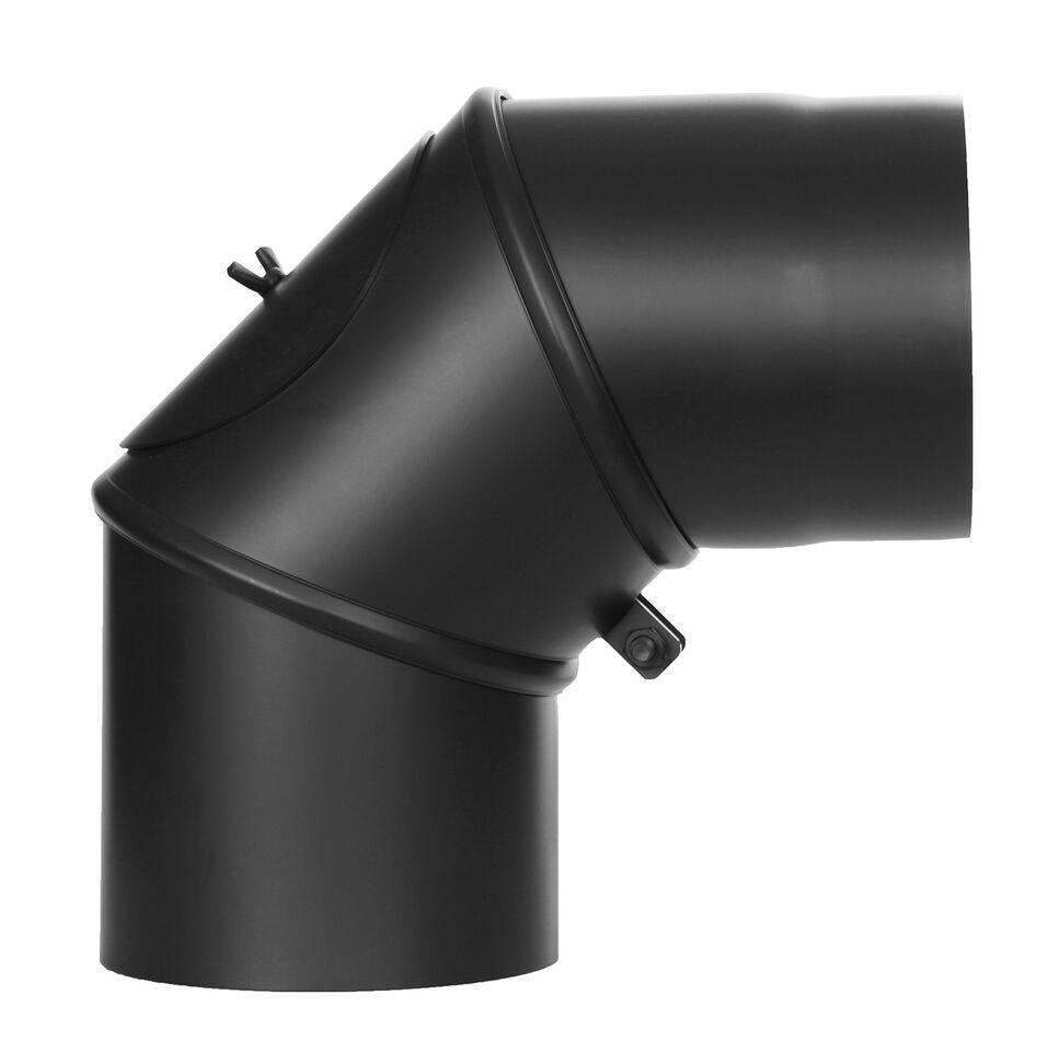 Ofenrohr - Winkel drehbar 0-90° mit Tür - schwarz