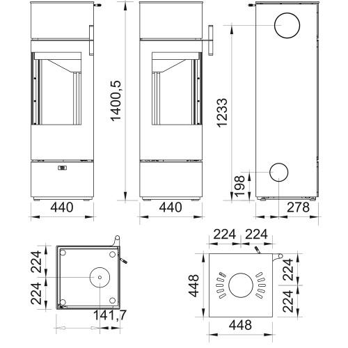 Kaminofen Cera Design Santos Eck 5kW