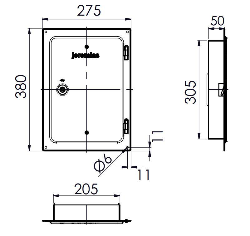 Kamintür - Edelstahlkamintür 300 x 200 mm mit Schiebestutzen 50 mm - einwandig - Jeremias EW-FU
