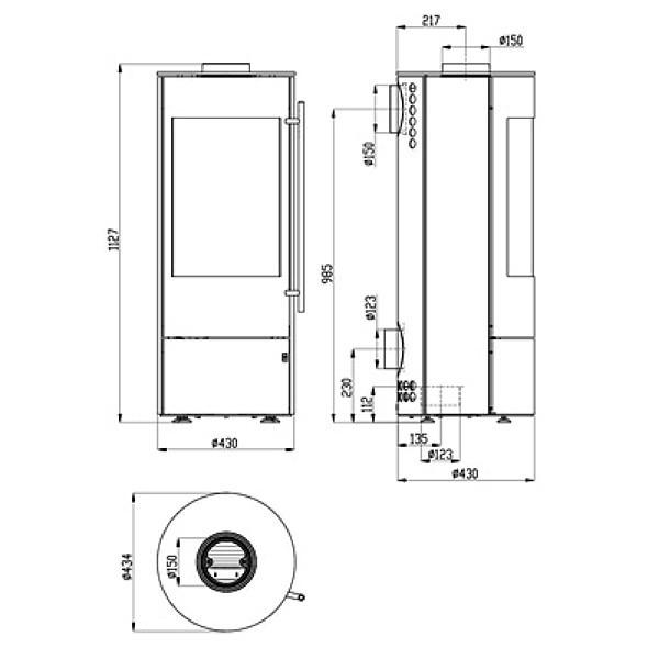 Kaminofen Olsberg Tipas Compact III 4kW, Glasfront, raumluftunabhängig
