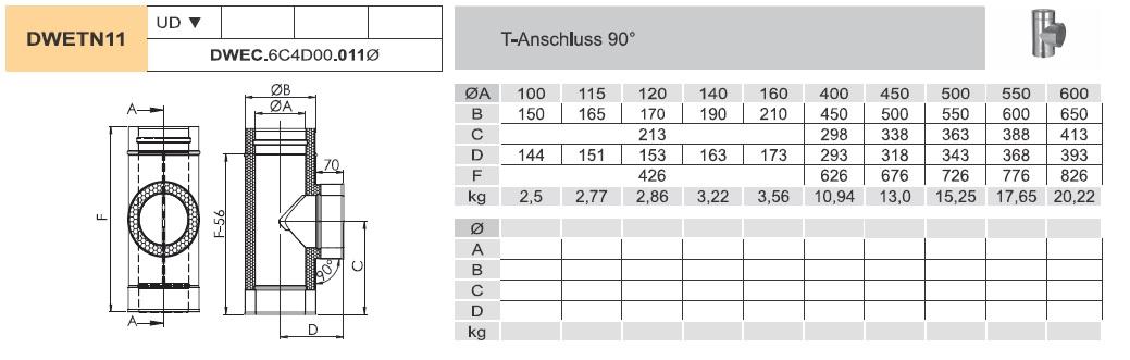 T-Anschluss 90° - doppelwandig - Jeremias DW-ECO
