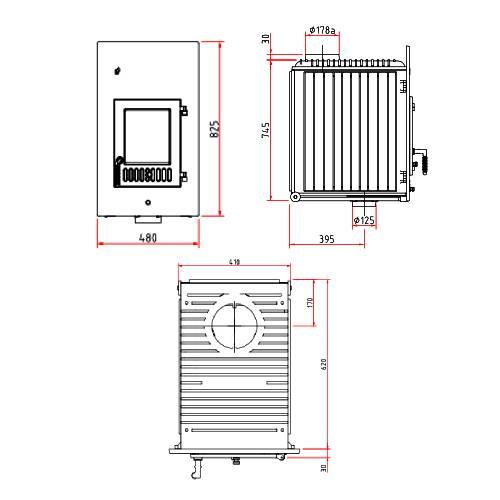 Kachelofeneinsatz Schmid SH 11 G, 11 kW