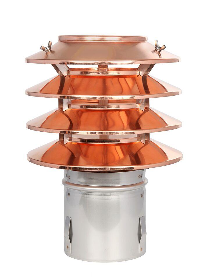 Lamellenaufsatz HUBO - 4 Lamellen und Einschubstutzen - Kupfer