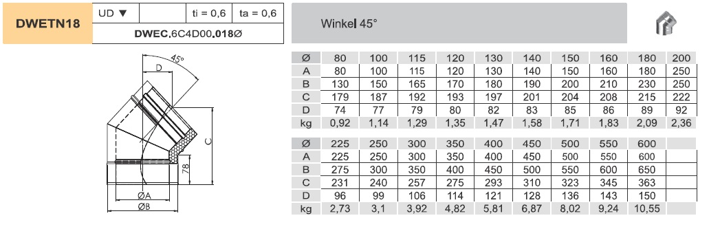 Edelstahlschornstein - Winkel 45° starr - doppelwandig - Jeremias DW-ECO