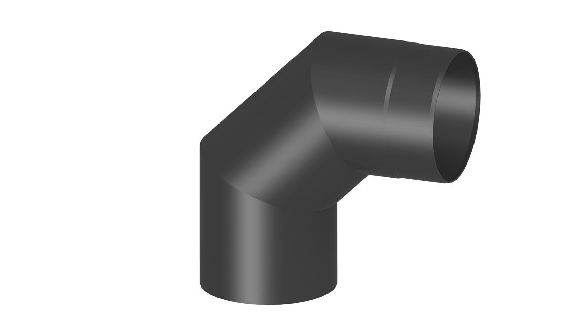 Ofenrohr - Winkel 90° ohne Tür - schwarz