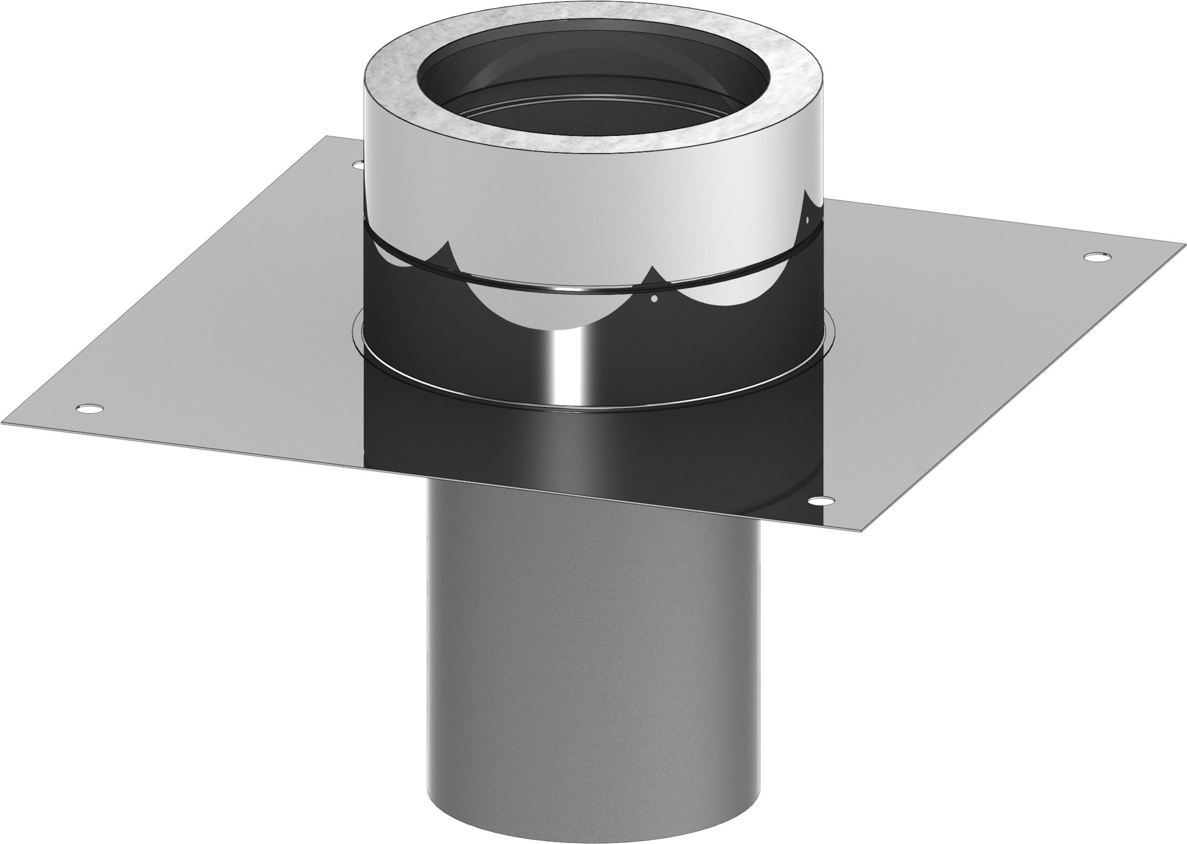 Grundplatte für Kaminerhöhung mit rundem Einschub - doppelwandig - Jeremias DW-ECO