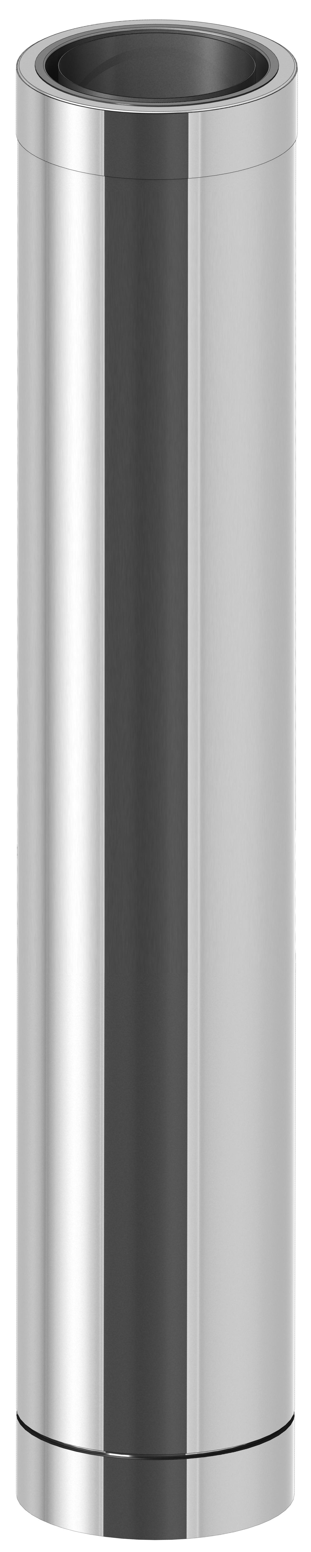 Edelstahlschornstein - Längenelement 1000 mm mit Wandfutter kürzbar - doppelwandig - Jeremias DW-ECO