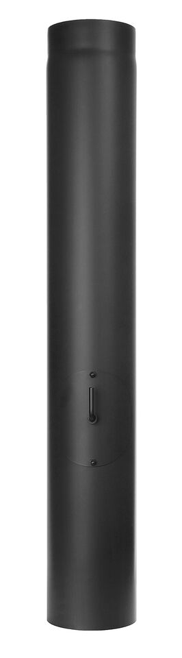 Ofenrohr - Längenelement 1000 mm mit Drosselklappe und Tür - schwarz