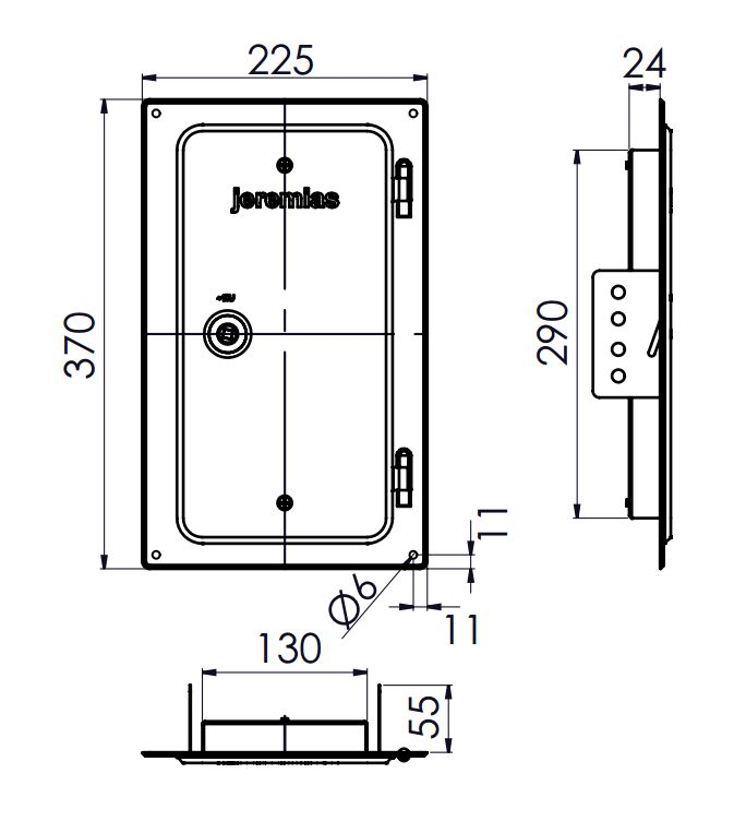 Kamintür - Edelstahlkamintür 300 x 150 mm - einwandig - Jeremias EW-FU