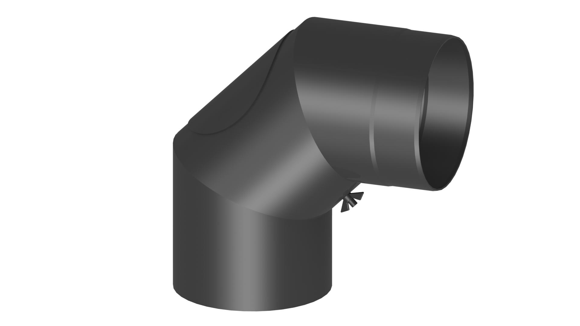 Ofenrohr - Winkel 90° mit Tür - schwarz