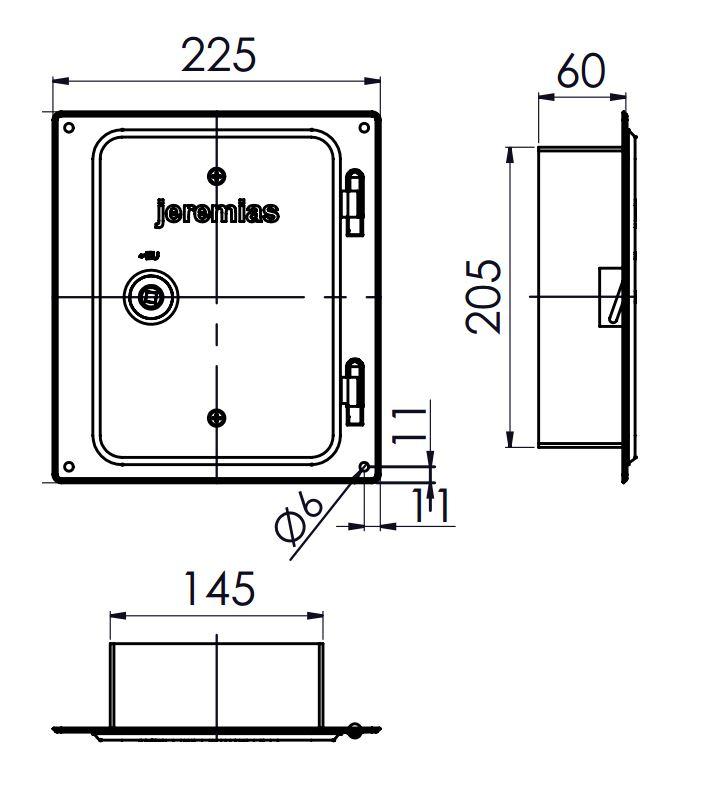 Kamintür - Edelstahlkamintür 210 x 140 mm mit Schiebestutzen 60 mm - einwandig - Jeremias EW-FU