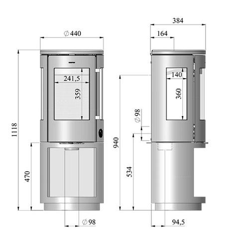 Kaminofen Morsoe 7493 4,3 kW mit Holzfach