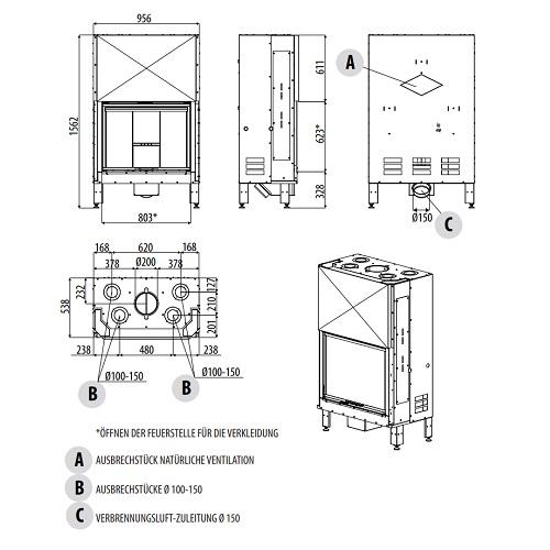 Kamineinsatz MCZ PLASMA 85 Wood 13,3kW