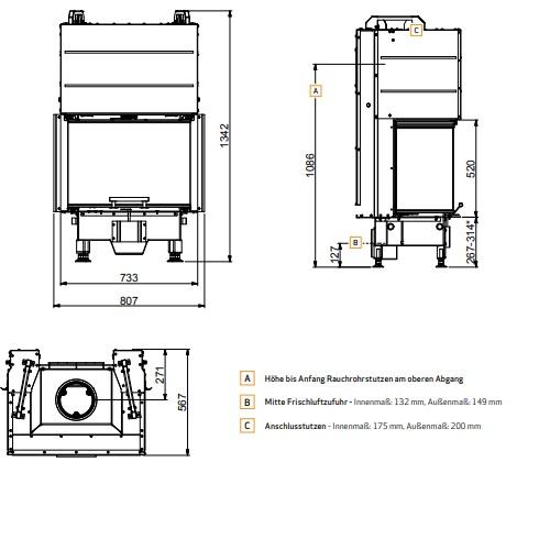 Kamineinsatz Scan 5004 FRL 8kW