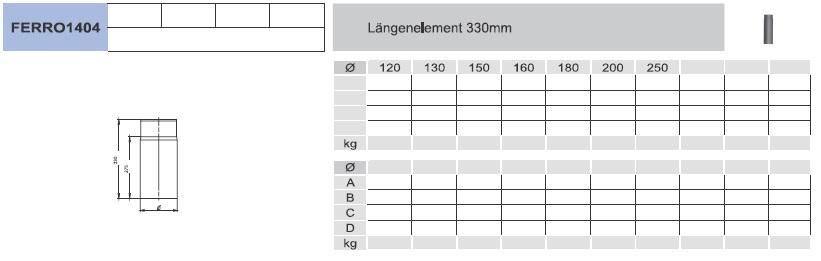 Ofenrohr - Längenelement 330 mm - schwarz