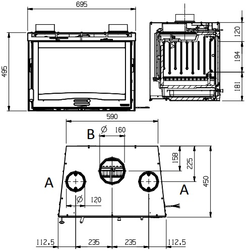 Kamineinsatz La Nordica Inserto 70 H 49 - Ventilato 9,8kW