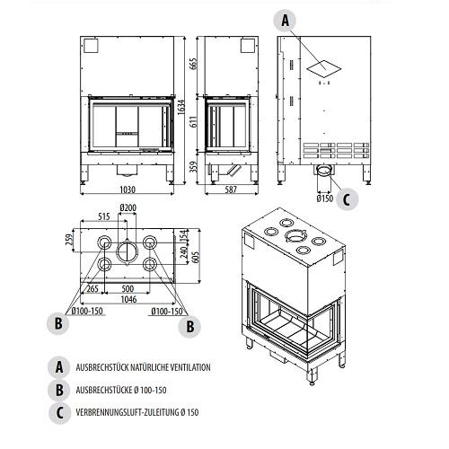 Kamineinsatz MCZ PLASMA 95 DX/SX Wood 14,8kW