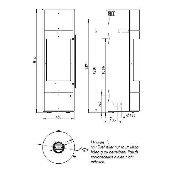 Olsberg Palena PowerBloc! Compact - Maße