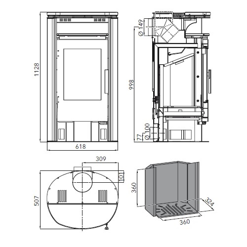Kaminofen Haas und Sohn Premium HALLSTATT 8kW mit Holzfach