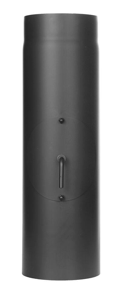 Ofenrohr - Längenelement 500 mm mit Drosselklappe und Tür - schwarz