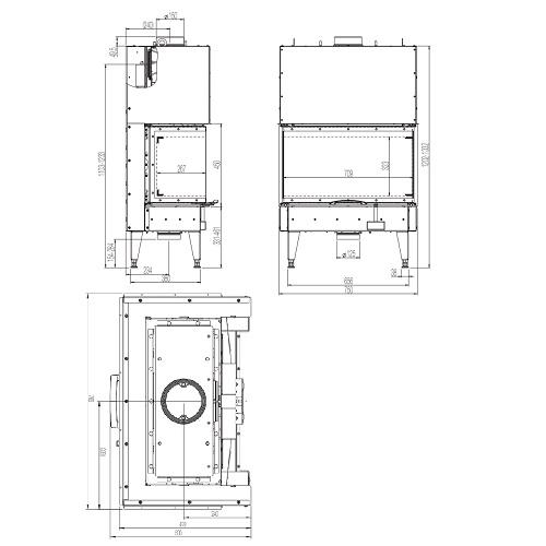 Kamineinsatz Austroflamm 75x35x45 S3 2.0 10kW, Schiebetüre