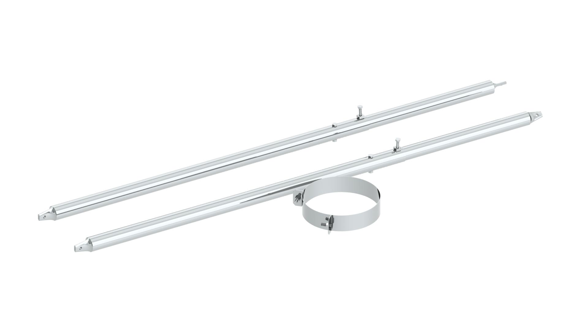 Edelstahlschornstein - 2-Punktabspannung mit Rundrohr verschiedene Längen verstärkte Ausführung für DW-FU