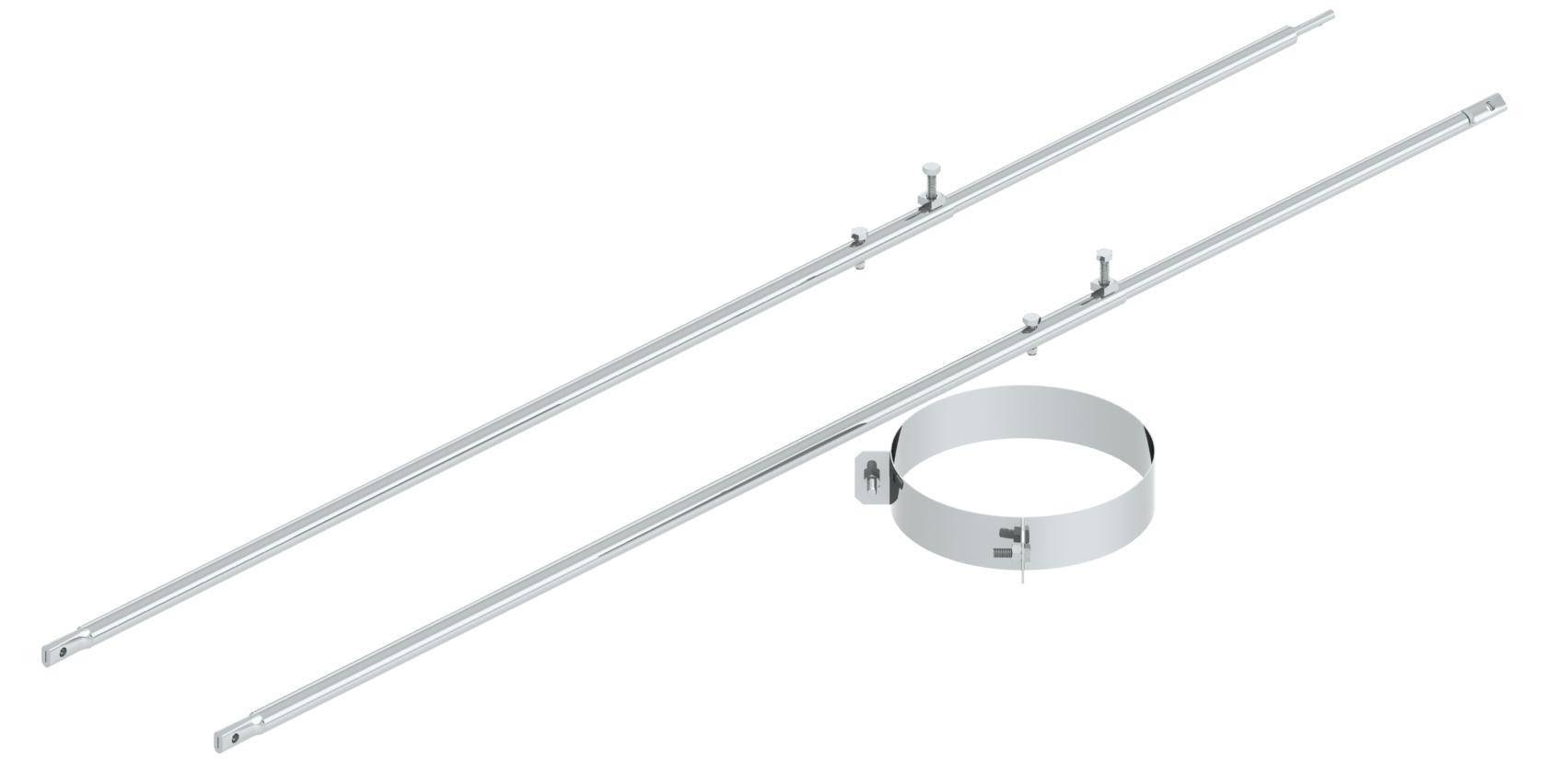 Edelstahlschornstein - 2-Punktabspannung mit Rundrohr verschiedene Längen für Jeremias DW-FU