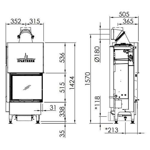 Kamineinsatz SPARTHERM Varia 2R-55h H2O 7kW wasserführend