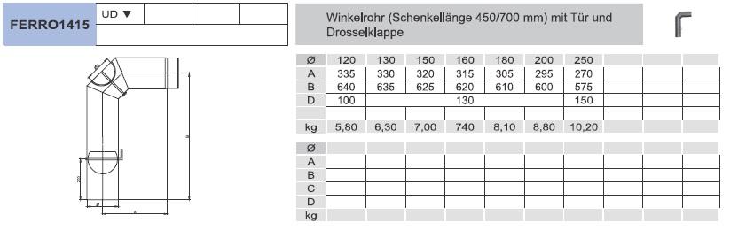 Ofenrohr - Winkelrohr (Schenkellänge 450/700 mm) mit Tür und Klappe - schwarz