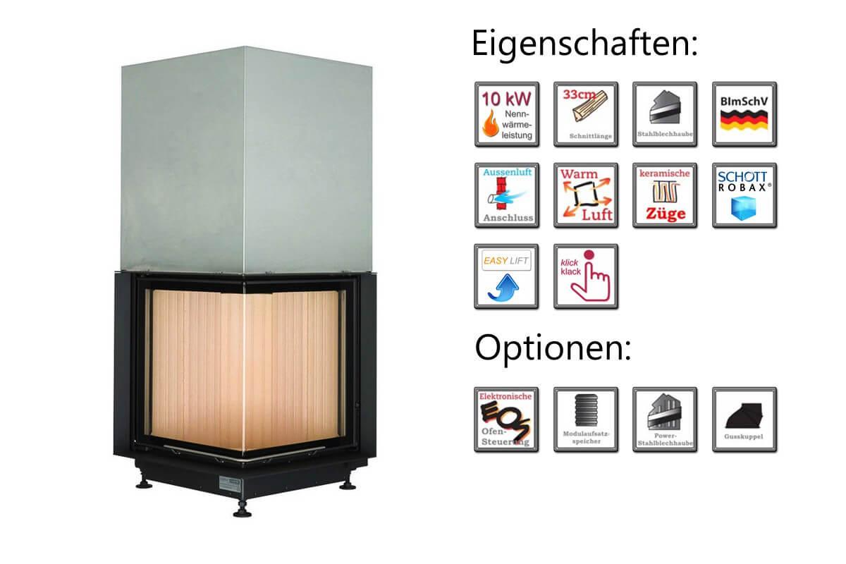 Kamineinsatz Brunner Eckkamin 57/52/52 10kW Drehtür