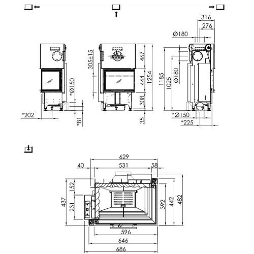 Kamineinsatz SPARTHERM Varia 2R-62h RLU 6,9kW