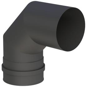 Winkel 90° starr mit Doppelmuffe, schwarz lackiert